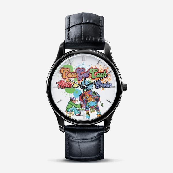 Cow Got Cash Classic Fashion Unisex Print Black Quartz Watch