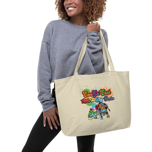 Cow Got Cash Large Organic Tote Bag - CowBrand Clothing Store