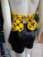 Flirty Ankara Halter Top with Peplum made from Yellow Polka Dot African Wax Block Cotton from Ghana