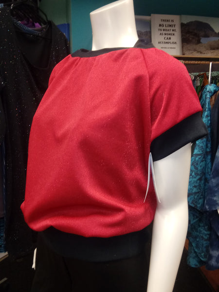Shimmery Red Pullover in Sparkle Knit with Black Cuffs