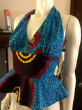 Flirty African Print Halter Top with Peplum made from Turquoise and Pink Ankara