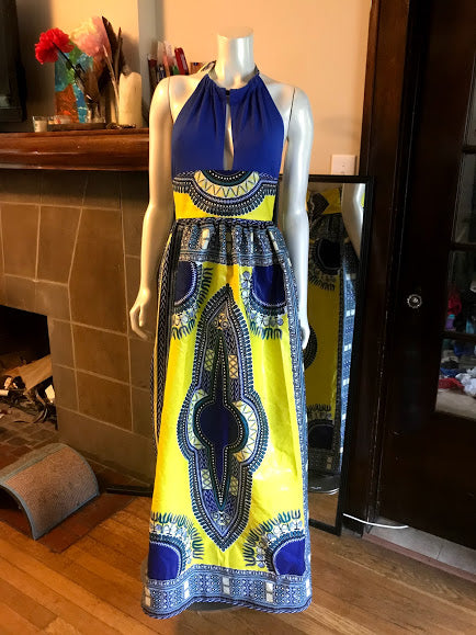 Plunge Halter Maxi Dress in African Dashiki Cotton in Blue and Yellow