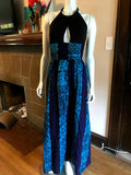 African Print Plunge Halter Maxi Dress in Black and Blue Batik Cotton