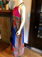 Plunge Halter Maxi Dress in African Dashiki Cotton in Blue and Pink