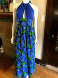 Plunge Halter Maxi Dress in Blue and Green African Print Wax Cotton
