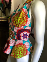 Flirty African Print Halter Top with Peplum made from Bright Mutlicolored Ankara