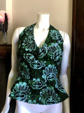 Flirty African Batik Halter Top with Peplum made from Green and Black Batik Cotton