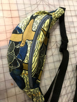 African Print Hip Bag in Gold and Blue Cotton