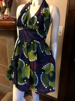 Flirty Halter Sundress in Purple and Yellow African Wax Block Cotton