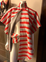 Hip Bag in Water Resistant Coral and Tan Striped Canvas