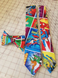 DC Comics Superhero Justice League Neckties in bow tie, skinny tie, and standard tie styles, kids or adult sizes