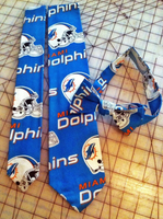Miami Dolphins NFL Neckties in bow tie, skinny tie, and standard tie styles, kids or adult sizes