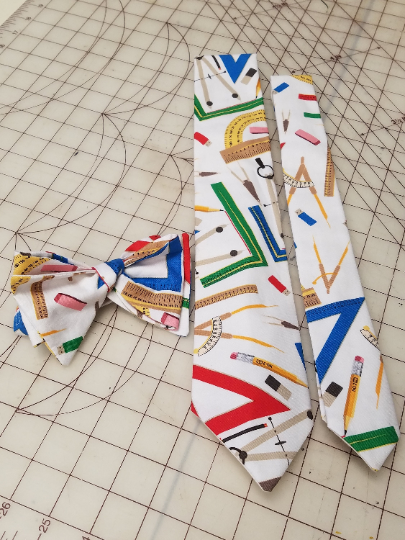 Math Geometry and Physics Neckties in bow tie, skinny tie, and standard tie styles, kids or adult sizes
