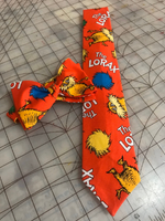 The Lorax Dr Seuss Neckties in bow tie, skinny tie, and standard tie styles, kids or adult sizes