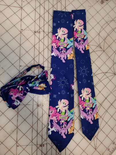 My Little Pony Neckties in bow tie, skinny tie, and standard tie styles, kids or adult sizes