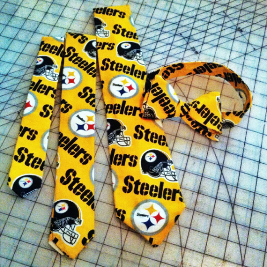 Pittsburgh Steelers NFL Neckties in bow tie, skinny tie, and standard tie styles, kids or adult sizes