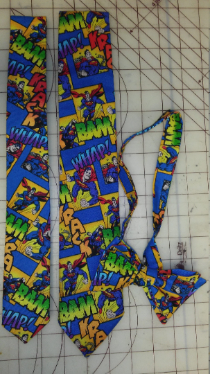 Superman DC Comic Neckties in bow tie, skinny tie, and standard tie styles, kids or adult sizes