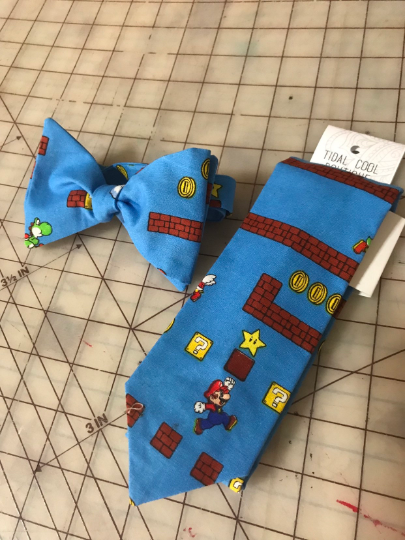 Nintendo Mario Bros Neckties in bow tie, skinny tie styles, kids or adult sizes