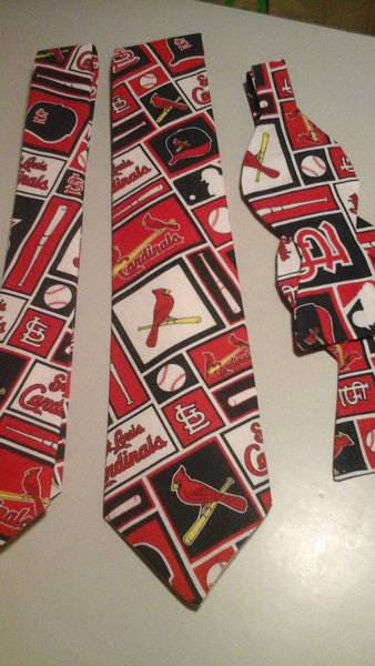 St Louis Cardinals MLB Neckties in bow tie, skinny tie, and standard tie styles, kids or adult sizes