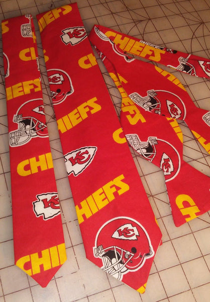 NFL Football Kansas City Chiefs Neckties in bow tie, skinny tie, and standard tie styles, kids or adult sizes