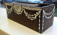 Hand Carved Wooden Slide-Lid Box w/ Acrylic Henna Painting