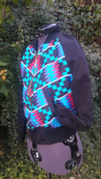 African Kente Print Cotton Unisex Bomber Jacket, Reversible