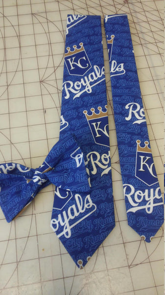 MLB Kansas City Royals Neckties in bow tie, skinny tie, and standard tie styles, kids or adult sizes