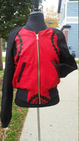 African Wax Block Cotton Reversible Unisex Bomber Jacket made from Red and Black Ankara fabric from Ghana