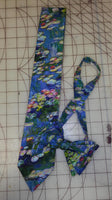 Monet Water Lillies Watercolor Neckties in bow tie, skinny tie, and standard tie styles, kids or adult sizes