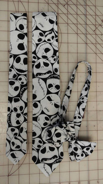 Jack Skellington Nightmare Before Christmas Neckties in bow tie, skinny tie, and standard tie styles, kids or adult sizes