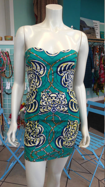 Ankara Bombshell Mini Dress in Beautiful Wax Block Seashell and Rope Nautical Fabric