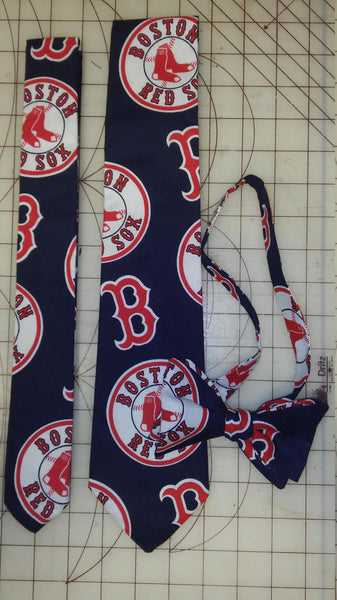 MLB Boston Red Sox Neckties in bow tie, skinny tie, and standard tie styles, kids or adult sizes