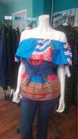 Ankara Wax Block Flounce Top in African Dashiki Print Cotton