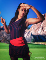 Sleveless Golf Polo and Skirt in Navy and Red