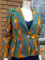Fitted African Wax Block Cotton Blazer in ATL Ghanaian Fabric