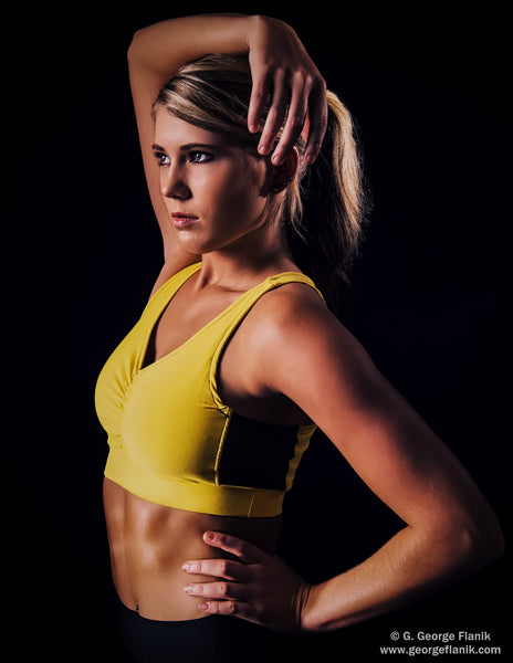 Sports Bra in Breathable Performance Knit and Side Mesh Detail