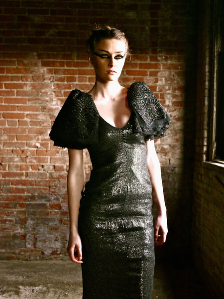 Couture Sequin Gown with Avant Garde Layered Lace Sleeves