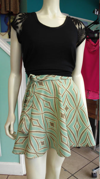 A-Line Canvas Wrap Skirt Turquoise and Gray