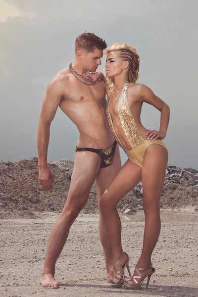 Sexy Plunge Swimsuit in Gold Sequin and Spandex