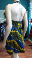 Flirty Halter Sundress in African Wax Block Cotton