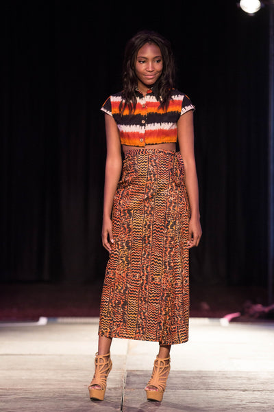 Long Wrap Skirt in Column Silhouette, in Orange and Black Print