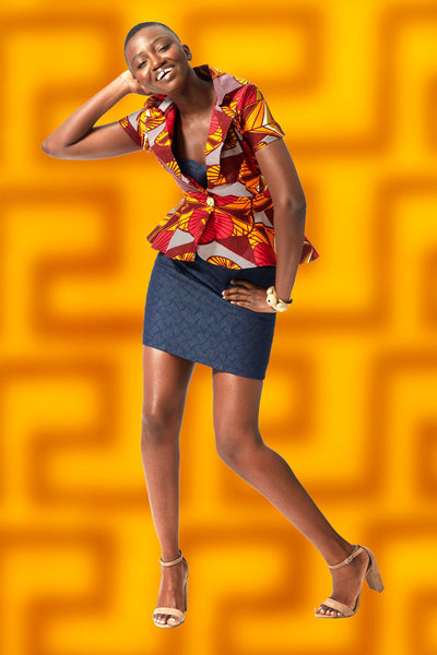 Peplum Blazer in Graphic Wax Block Ankara, with Short Sleeves and Hi Low hem