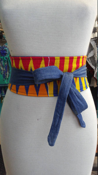 Reversible Kente and Denim Obi Belt