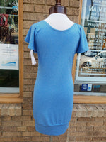 Heather Blue Performance Knit Dress with Flutter Sleeves and Fitted Shape