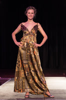 Long Sundress in Gold Tribal Silky Print