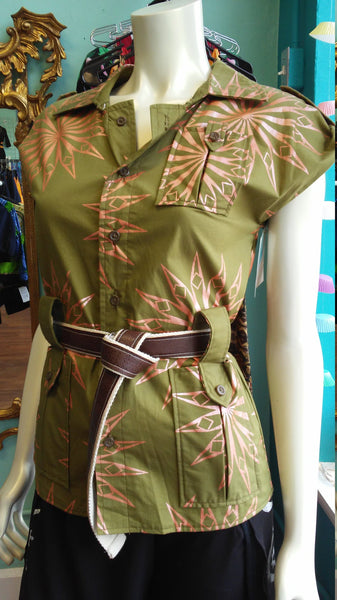 African Ankara Safari Top in Olive and Metallic Peach Wax Block Cotton