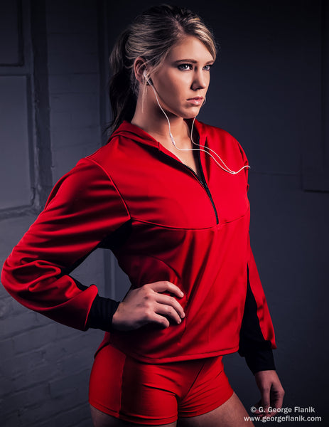 Red Performance Hoodie with Zip Front and Phone Pocket