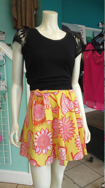 A-Line Canvas Wrap Skirt in Pink and Yellow Floral