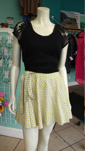 A-Line Canvas Wrap Skirt in Yellow and Green Floral