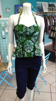 Reversible Batik Pin Up Halter with Fitted Bodice and Flirty Peplum